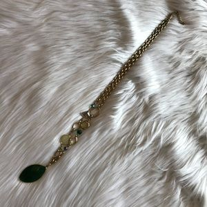 LOFT | emerald green long pendant necklace
